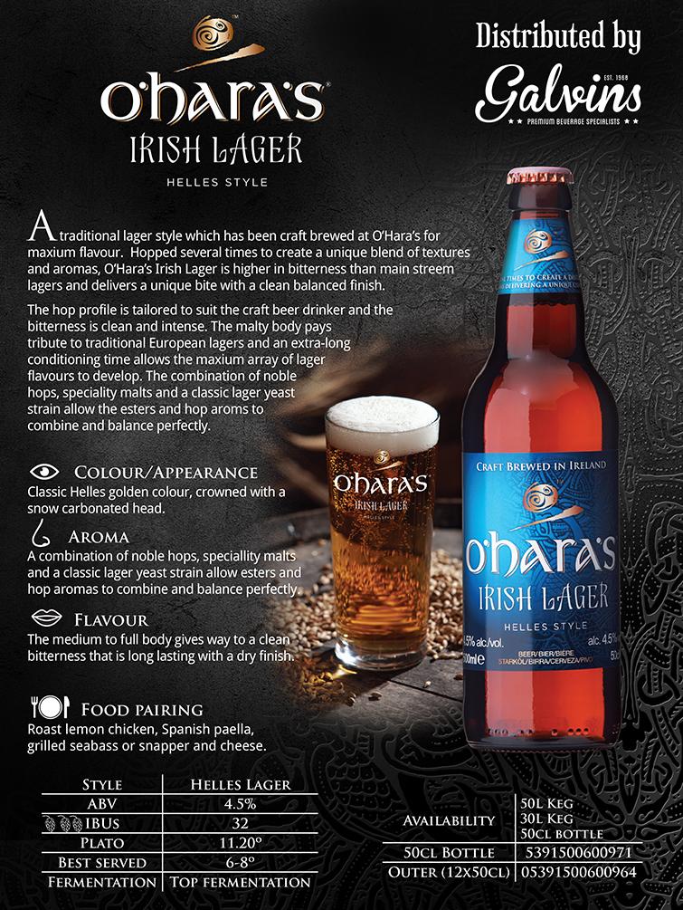 oharas Irish Lager